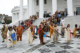 Virginia Indians perform a dance ceremony on the steps of the capital in Richmond, May 2007.