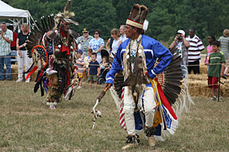 Native dancers perform during Patuxent Encounters event at Jefferson Patterson Park and Museum, 2007 (Photo by M.Sisler)