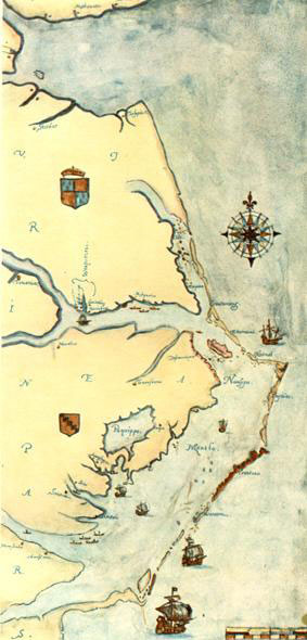 John White 1585 Map of La Virginea Pars