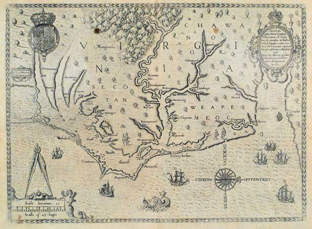 John White's 1590 map of the Chesapeake and Virginia