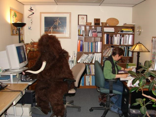 office scene with person in mammoth costume sitting at a computer