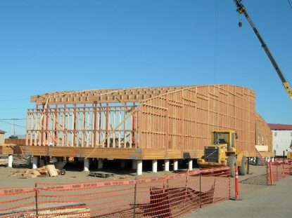 The Northwest Arctic Heritage Center building takes shape as UIC Construction build the walls.
