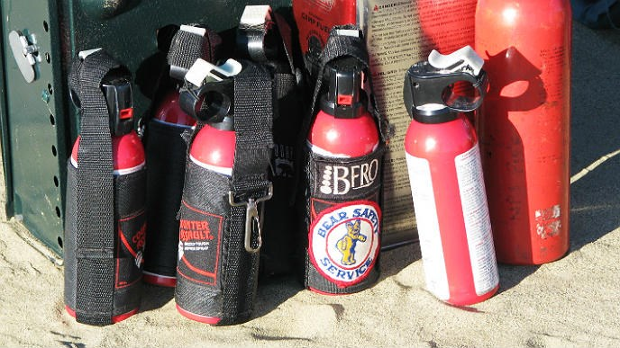 cans of bear spray sitting in the sand