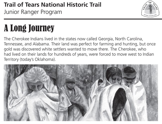 People bundled in blankets, Trail of Tears Junior Ranger Program text
