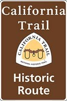 Brown California NHT historic route sign with trail logo