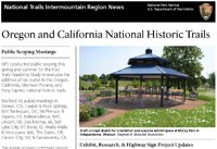 Image of the Oregon-California Trails Association newsletter cover with a photo of an interpretive kiosk at McCoy Park.