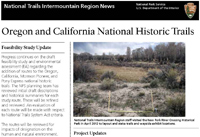 Image of the Oregon-California Trails Association newsletter cover with a photo of a wayside location looking out onto a dry river channel bed with cottonwood trees on the New Fork River.