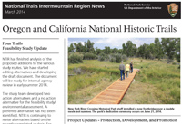 Top half of OCTA newsletter showing a photograph of people walking on a footbridge with grass and cottonwood trees.