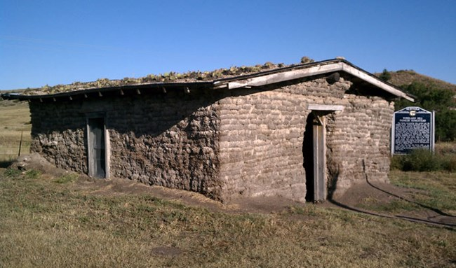 An old building made of sod bricks in a tan brown color with a roof covered in cactie sits on a grassy hill with blue sky above in Nebraska.