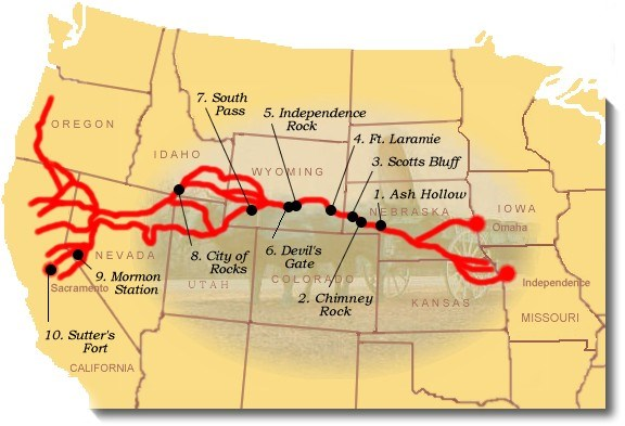 Suggested sites to see on the California National Historic Trail.