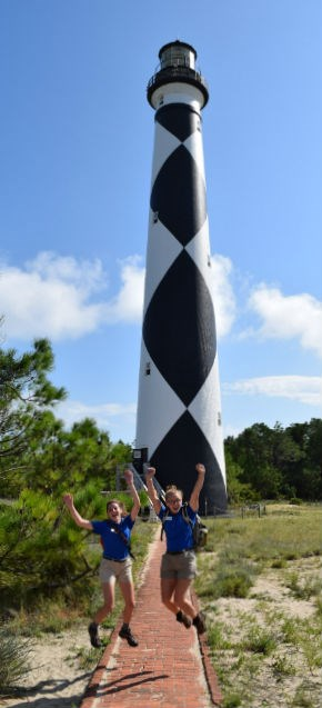 SCA Interns in front of the Cape Lookout Lighthouse.