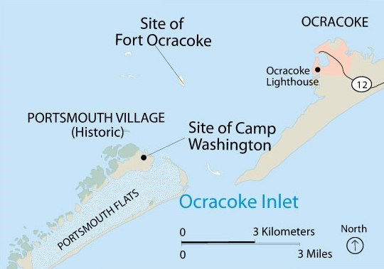 Fort Ocracoke and Camp Washington Locations