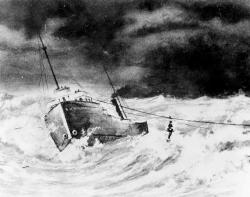 Artist depiction of Breeches Bouy rescue