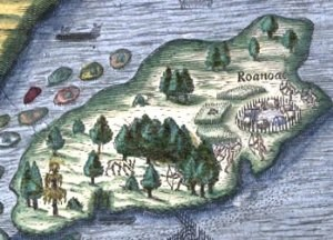 section from 1590 map by Thomas Hariot_Roanoke Island