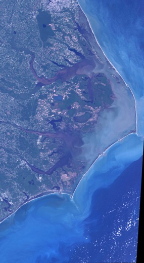 Outer Banks of North Carolina as seen from