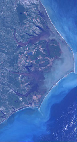 The Outer Banks of North Carolina as seen from space.