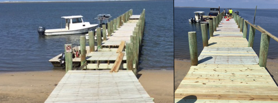 Two images of the same wooden dock, on the left the dock is damaged and on the right it is repaired.