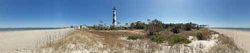 A panorama of the Cape Lookout Lightstation from the sound.