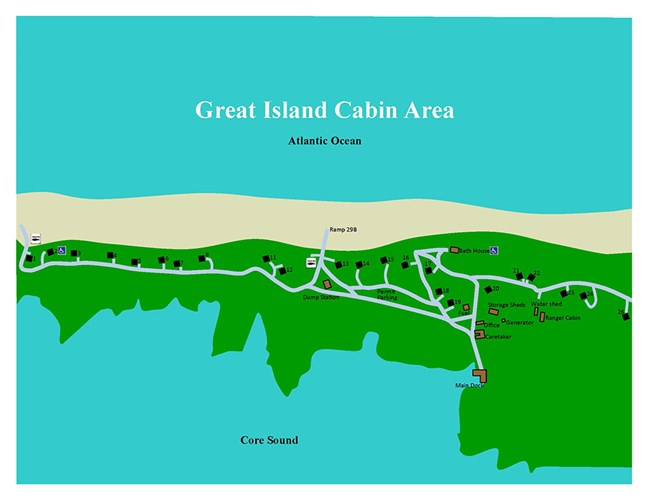 aerial map of Great Island cabin area showing location of cabins and other facilities