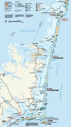 The official Cape Lookout National Seashore map.
