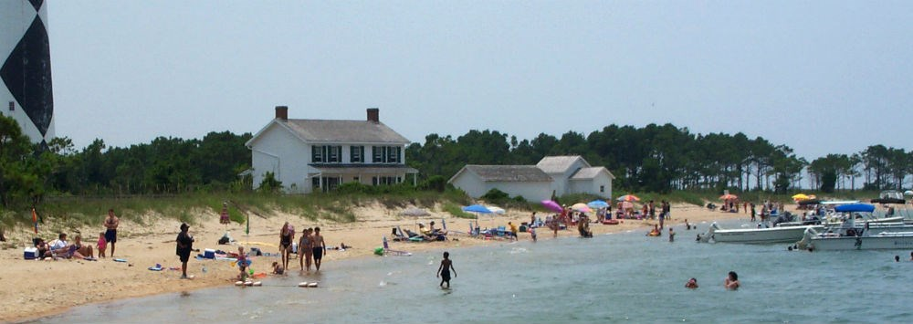 Visitors swim in the sound near the Cape Lookout Lightstation.