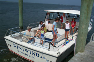 Visitors arriving from Ocracoke aboard the ferry.