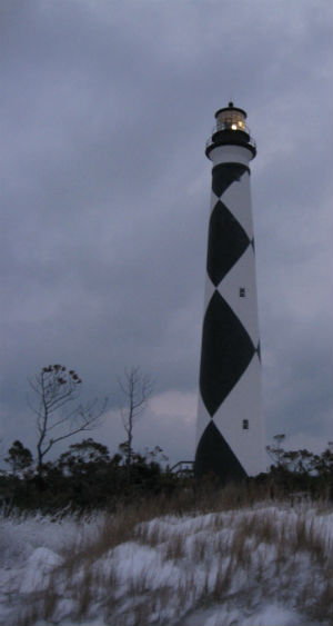 Snow at the Cape Lookout Lighthouse
