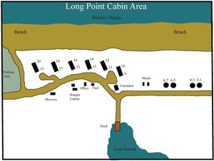 map of Long Point Cabin Camp