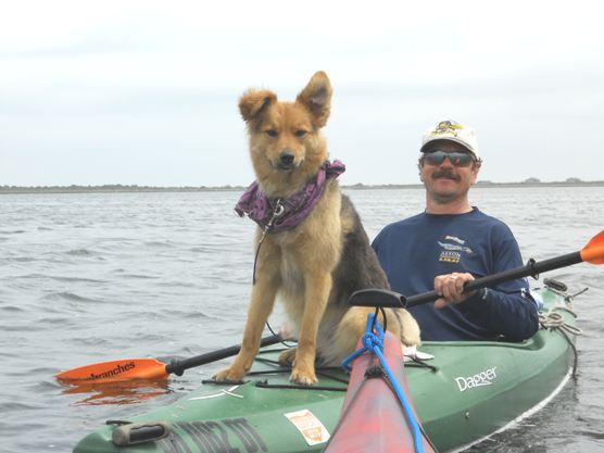 Prancer and her owner kayaking in Core Sound