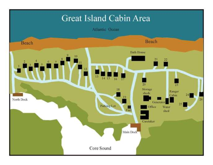 Great Island Cabin Camp Map