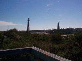 Cape Henry Lighthouses as viewed from the Cape Henry Memorial walkway