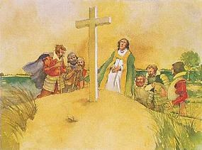 Artist water color depicting Reverend Hunt leading men in prayer before a wooden cross on the sands of Cape Henry