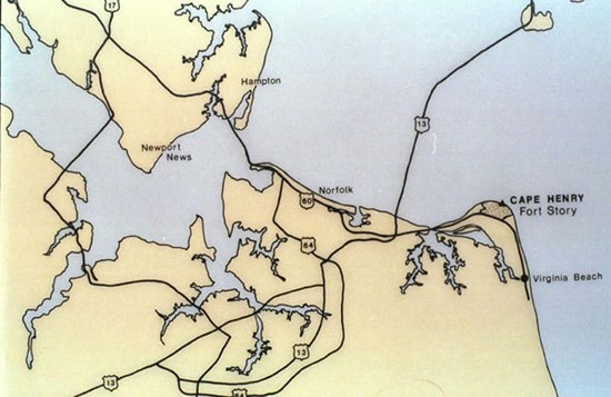 Directional map to Cape Henry