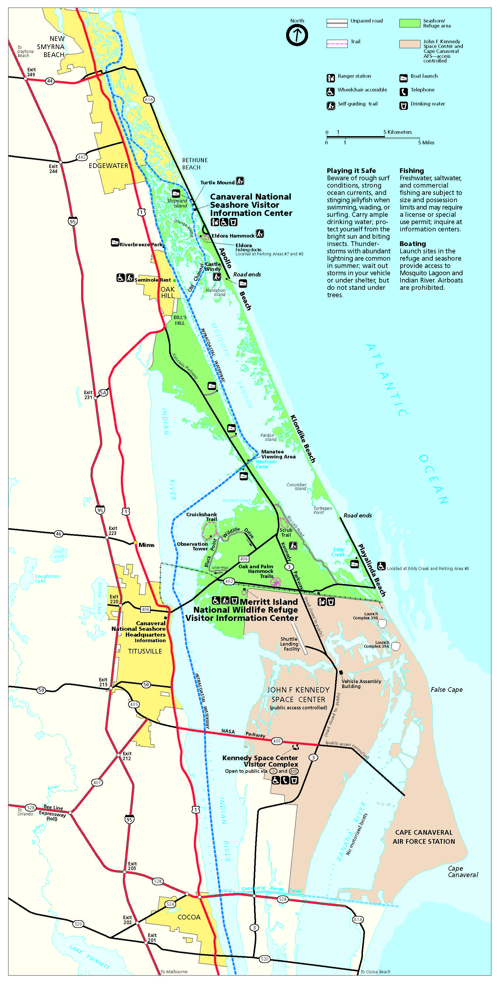 Maps - Canaveral National Seas (U.S. National Park Service) Cape Canaveral Map on