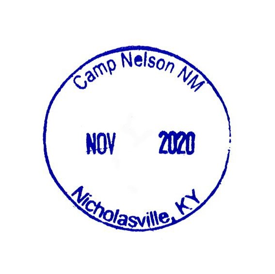 Passport Stamp for Camp Nelson NM with the date left blank.