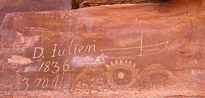 Denis Julien inscription dated 1836 on a rock wall