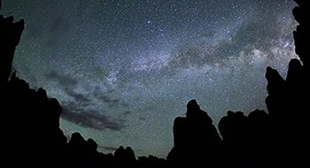 The Milky Way above silhouetted rock pinnacles