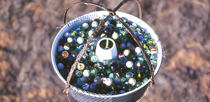 photo: Using bundt cake pans filled with marbles, dust is collected at five different locations in Canyonlands.