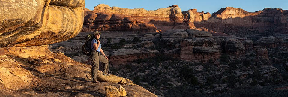 A hiker stands on a cliff edge with canyons in the background