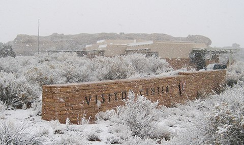 snow-covered plants with a visitor center building in the background
