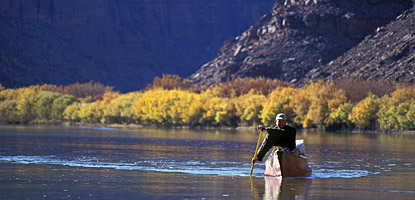 photo: Fall colors and canoe on the Green River