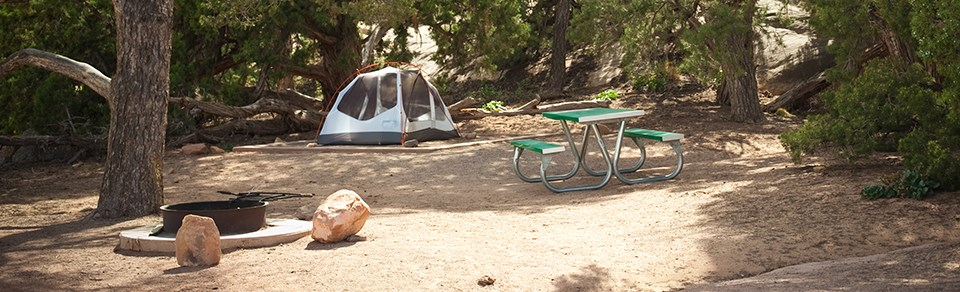 A tent and picnic table at a campsite