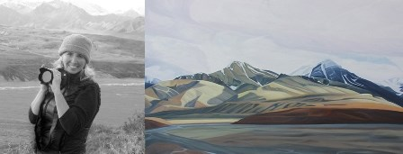 Portrait photo of artist, Lisa Gilley on left and an image of one of her Denali paintings on the right