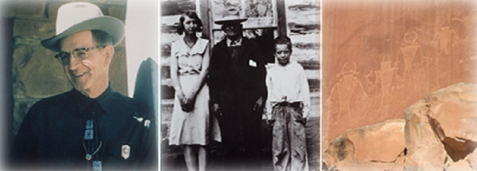 Composite of three photos: a man in a cowboy hat and bolo tie, and black and white photo of a woman in a dress, a man in suit and tie, and a boy; photo of petroglyphs.
