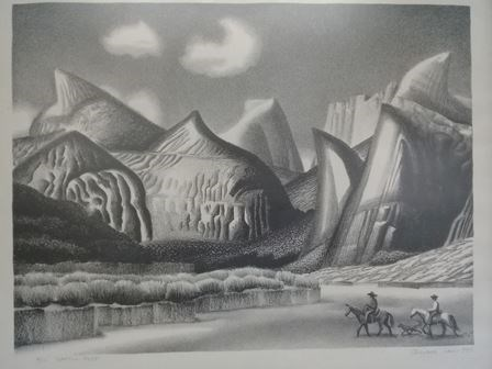 artistic drawing of Capitol Reef domes with people on horseback in the foreground