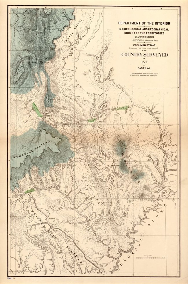 Old fashioned map of the geologic features in south central Utah and northern Arizona