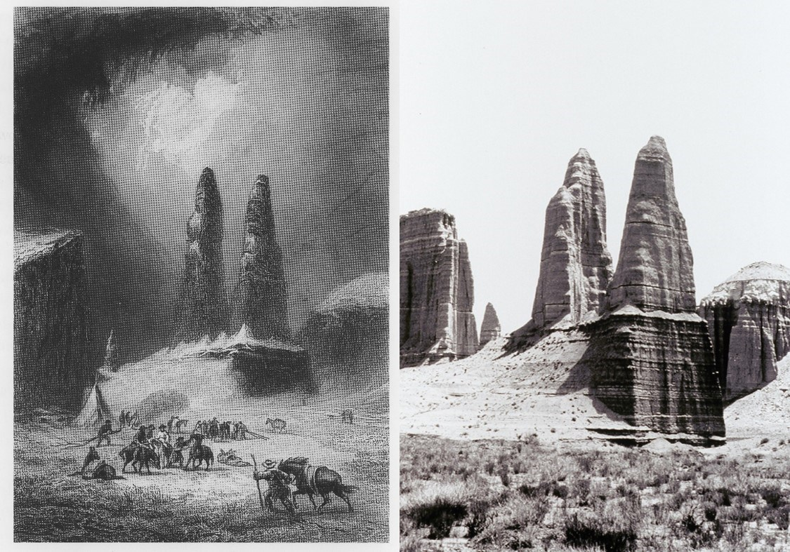 Two images: a black and white photo of two large triangular monoliths and cliffs. Second image: Pen and ink etching of men, horses, and the same two large triangular monoliths.