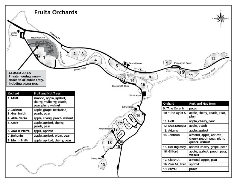 Map of 19 orchards in Capitol Reef