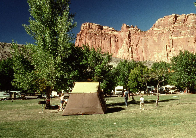 Tent campers enjoying Fruita Campground