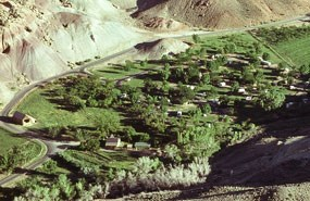 Aerial view of Fruita Campground